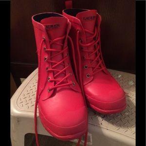 Ralph Lauren Red Rain Combat Boots Size 11